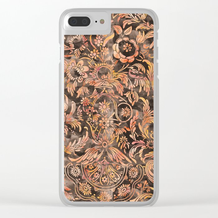 Watercolor Damask Pattern 04 Clear iPhone Case