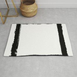 Square Strokes Black on White Rug