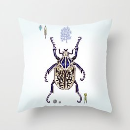 Happy Goliath beetle Throw Pillow
