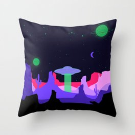 Hello ufo Throw Pillow