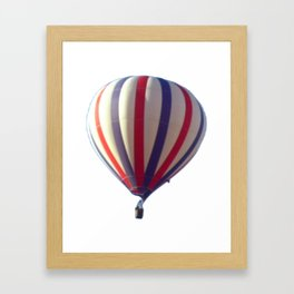 Flying in Blue, White and Red Hot air Balloon Framed Art Print