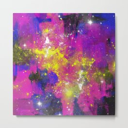 Journey Through Space - Abstract purple and blue, space themed artwork Metal Print