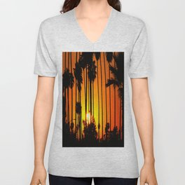 Striped Sunset Unisex V-Neck