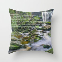 Tao Te Ching Quote Zen Waterfall Print Throw Pillow