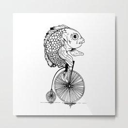 fish on bike Metal Print