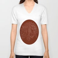 native american V-neck T-shirts featuring native american by johanna strahl