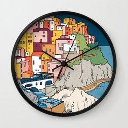 Cinque Terre Italy by Night  Wall Clock