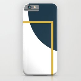 Fusion Minimalist Geometric Abstract in Mustard Yellow, Navy Blue, and White iPhone Case