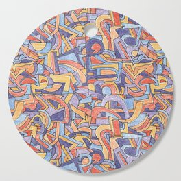 Party in Orange and Blue Cutting Board