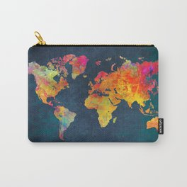 World Map blue Carry-All Pouch