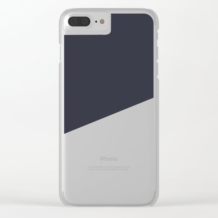 Urban Geometry Navy Blue + White Clear iPhone Case