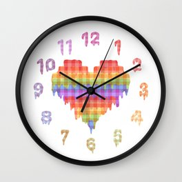 Gingham Heart Wall Clock