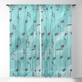 Music notes Sheer Curtain