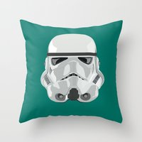 storm trooper Throw Pillows featuring Storm Trooper by Inza Vita