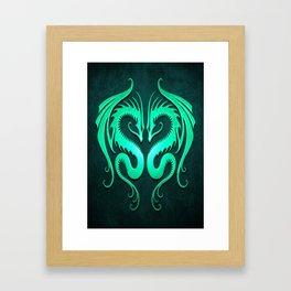 Teal Blue Twin Tribal Dragons Framed Art Print