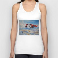 superheros Tank Tops featuring Panda Superhero by Michael Creese