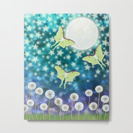 the moon, stars, luna moths, & dandelions Metal Print