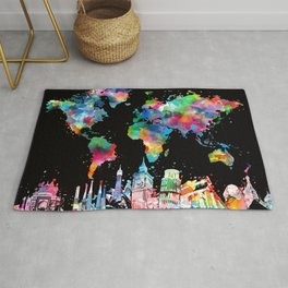 world map city skyline 3 Rug