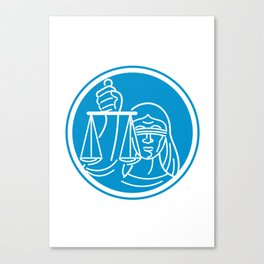 Lady Blindfolded Hold Scales Justice Circle Canvas Print