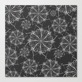 Hand painted black white mandala floral pattern Canvas Print