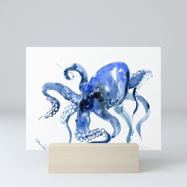 Navy Blue Octopus Artwork Mini Art Print