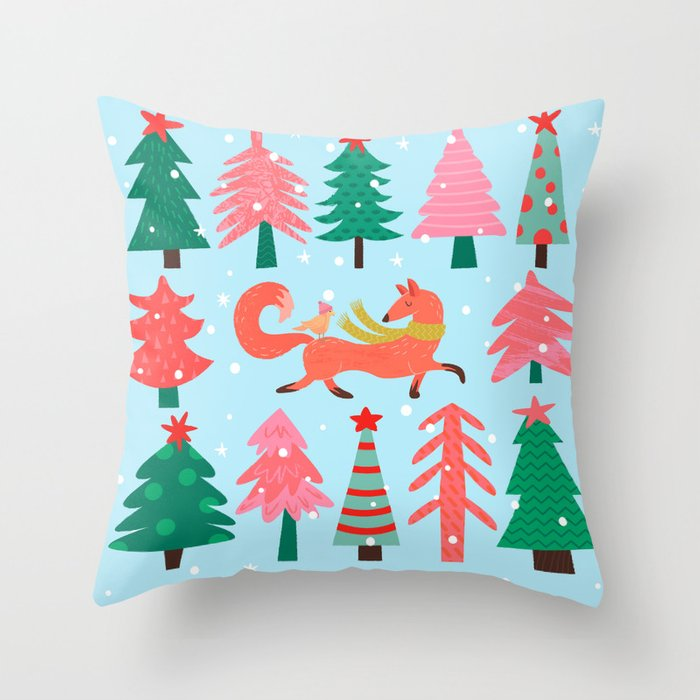 Fox And Bird In A Christmas Tree Winter Wonderland Throw Pillow