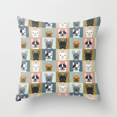 French Bulldog portraits pattern dog person gift love animal pet puppy frenchie bulldog valentines Throw Pillow