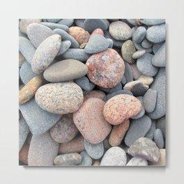 Watercolor Rock, Pebbles 05, Cape Breton, Nova Scotia, Canada, No Worries Here Metal Print