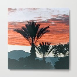 Palm Springs, California Palm Trees & Mountains at Sunset Metal Print