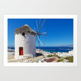 Great view at the port and Chora from a windmill of Mykonos, Greece Art Print