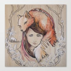 Safe in My Red Riding Hood, Balsa Canvas Print