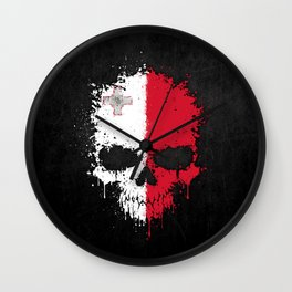 Flag of Malta on a Chaotic Splatter Skull Wall Clock