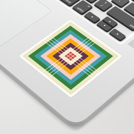 Retro Colored Abstract Shapes Sticker