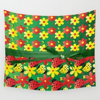 contemporary Wall Tapestries featuring Contemporary Ladybugs by DMiller