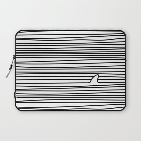 Minimal Line Drawing Simple Unique Shark Fin Gift by teeleo