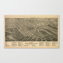 Vintage Pictorial Map of Winston-Salem NC (1891) Canvas Print