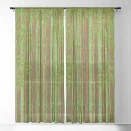 Bamboo Forest Pattern! Sheer Curtain