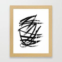 Calligraphy brushstrokes Framed Art Print