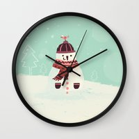 snowman Wall Clocks featuring Snowman by Villie Karabatzia