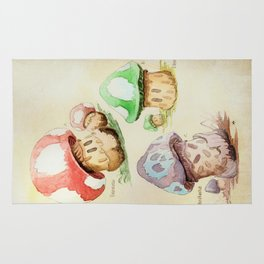 Mario Mushrooms Botanical Illustration Rug