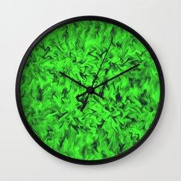 Fiery Green Wall Clock