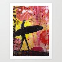 surfer Art Prints featuring Surfer by Sophia Buddenhagen