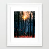 fall Framed Art Prints featuring Red feather dance  (colour option) by Viviana Gonzalez
