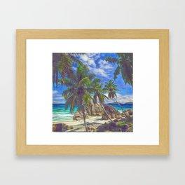 La Digue beach Framed Art Print