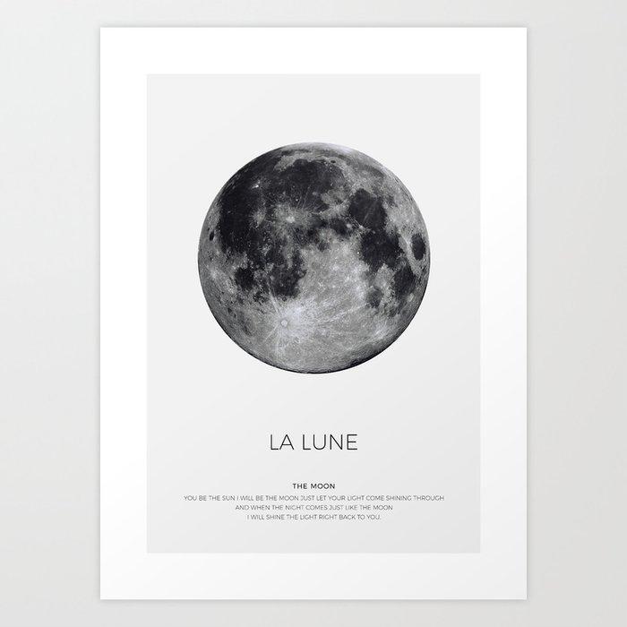 La Lune Print Moon Poster Luna Wall Art Full