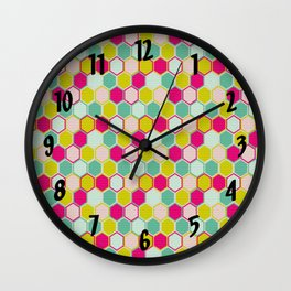 Multicolored Hexagon Shapes Pattern Wall Clock