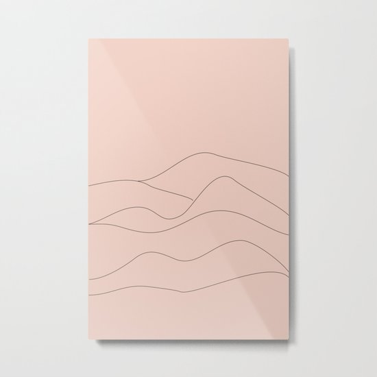 Pink Mountains Minimal Metal Print
