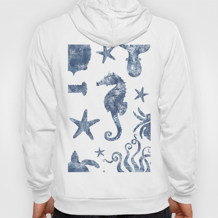 Delft Blue nautical Marine Life pattern, coastal beach Hoody