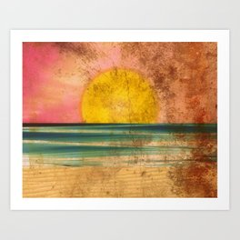 Ocean Sunset Vintage 2.0 Art Print