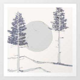 Moon & Trees Art Print